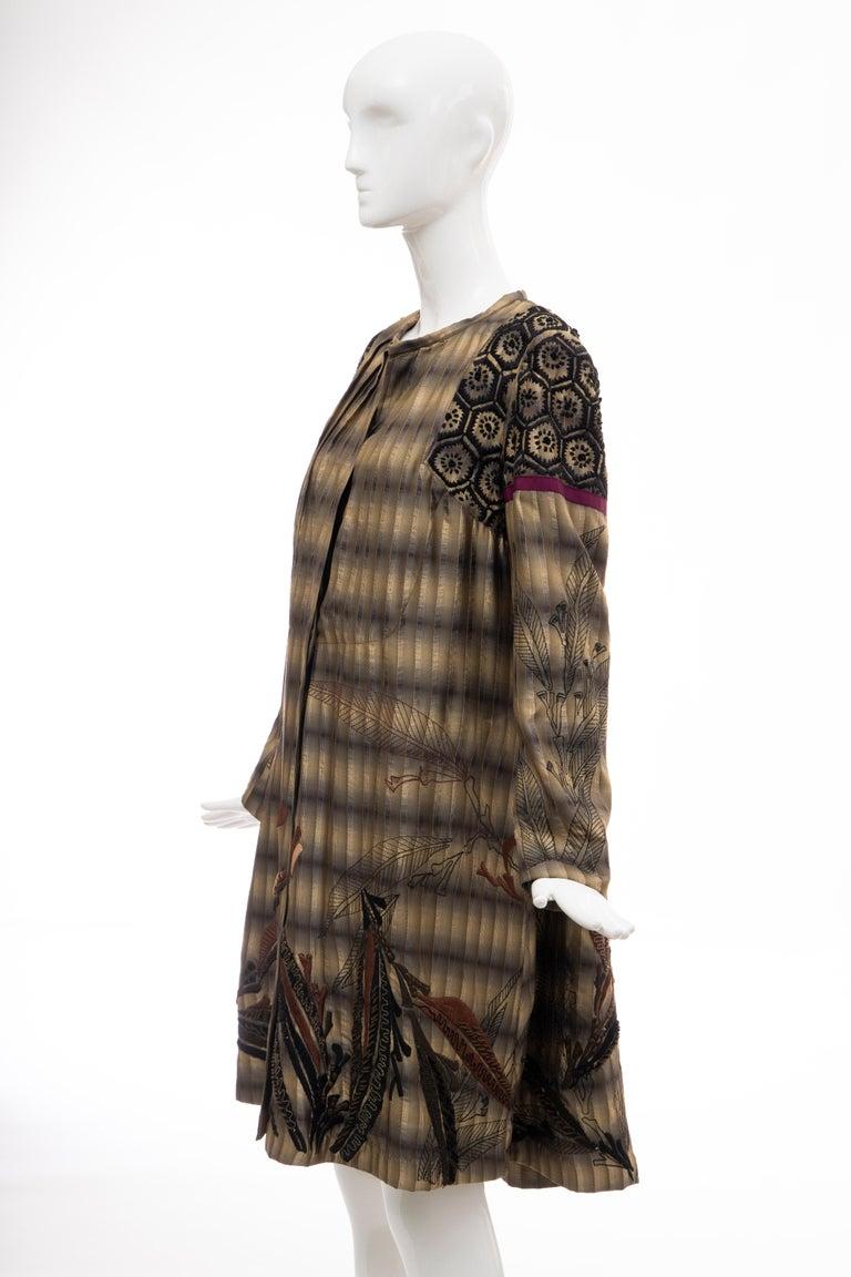 Dries Van Noten Runway Striped Embroidered Silk Lightweight Coat, Spring 2006 For Sale 10