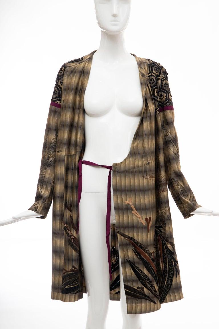 Dries Van Noten Runway Striped Embroidered Silk Lightweight Coat, Spring 2006 For Sale 11