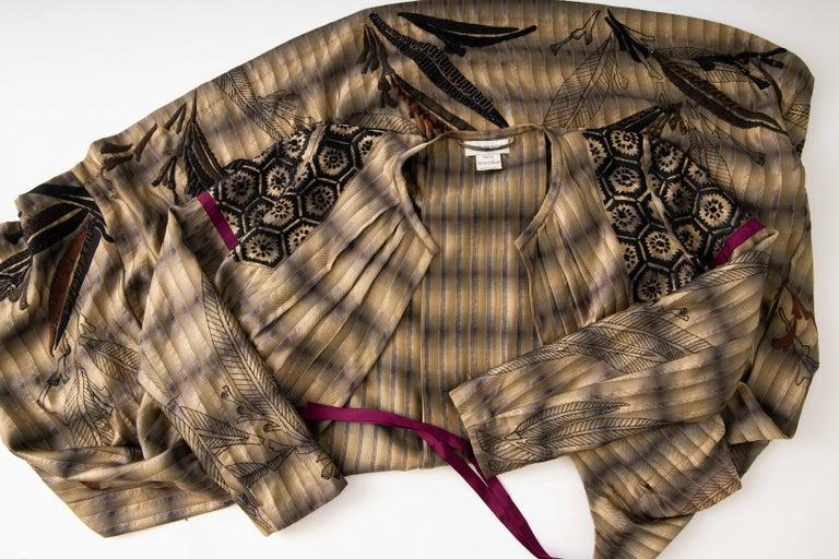Dries Van Noten Runway Striped Embroidered Silk Lightweight Coat, Spring 2006 For Sale 12