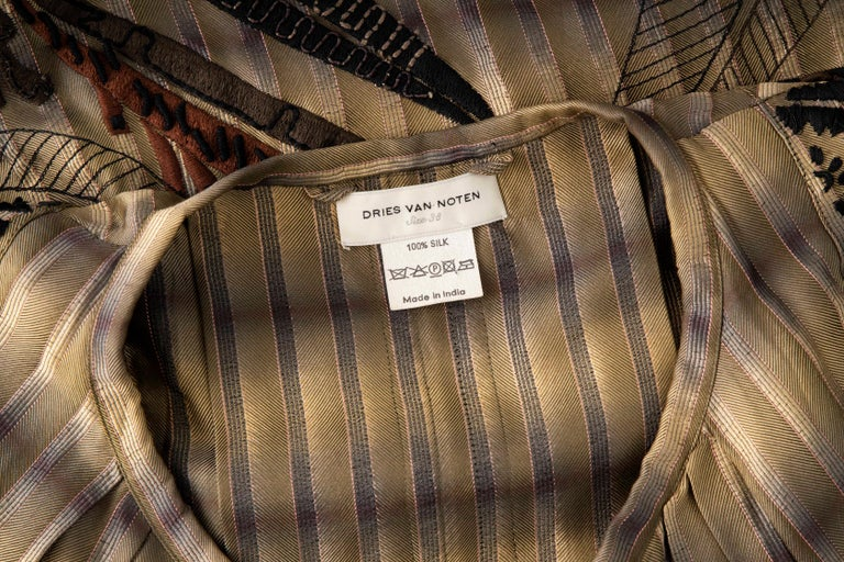 Dries Van Noten Runway Striped Embroidered Silk Lightweight Coat, Spring 2006 For Sale 13