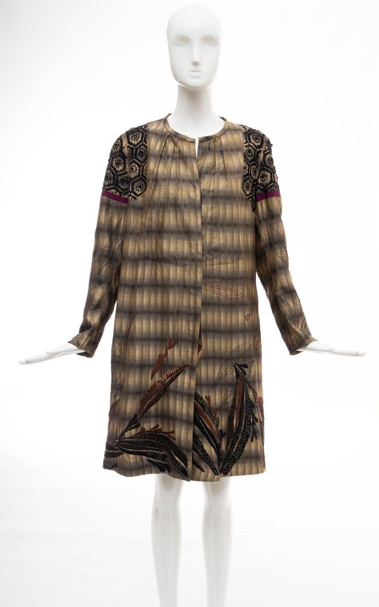 Black Dries Van Noten Runway Striped Embroidered Silk Lightweight Coat, Spring 2006 For Sale