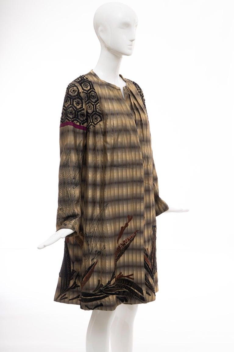 Women's Dries Van Noten Runway Striped Embroidered Silk Lightweight Coat, Spring 2006 For Sale