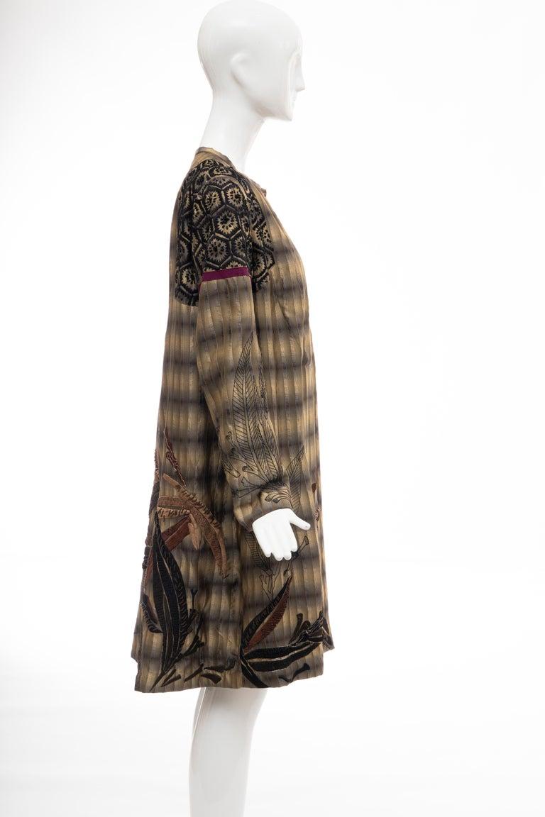 Dries Van Noten Runway Striped Embroidered Silk Lightweight Coat, Spring 2006 For Sale 1