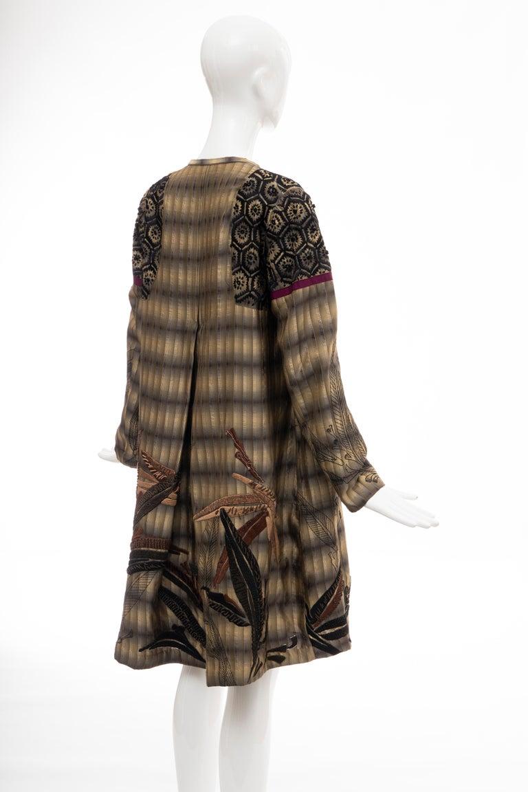 Dries Van Noten Runway Striped Embroidered Silk Lightweight Coat, Spring 2006 For Sale 2