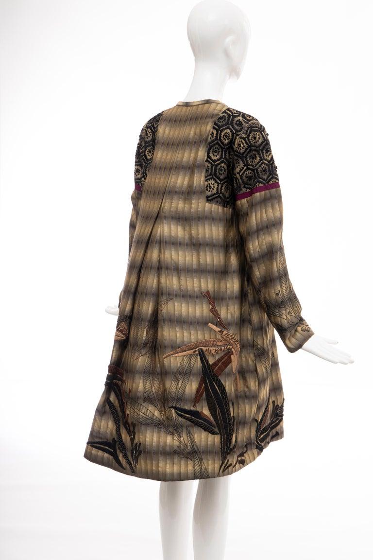Dries Van Noten Runway Striped Embroidered Silk Lightweight Coat, Spring 2006 For Sale 3