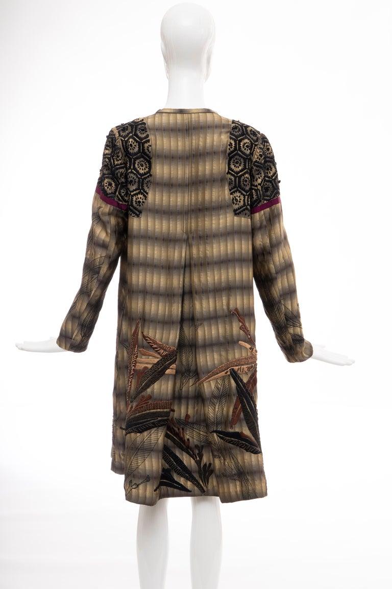 Dries Van Noten Runway Striped Embroidered Silk Lightweight Coat, Spring 2006 For Sale 4