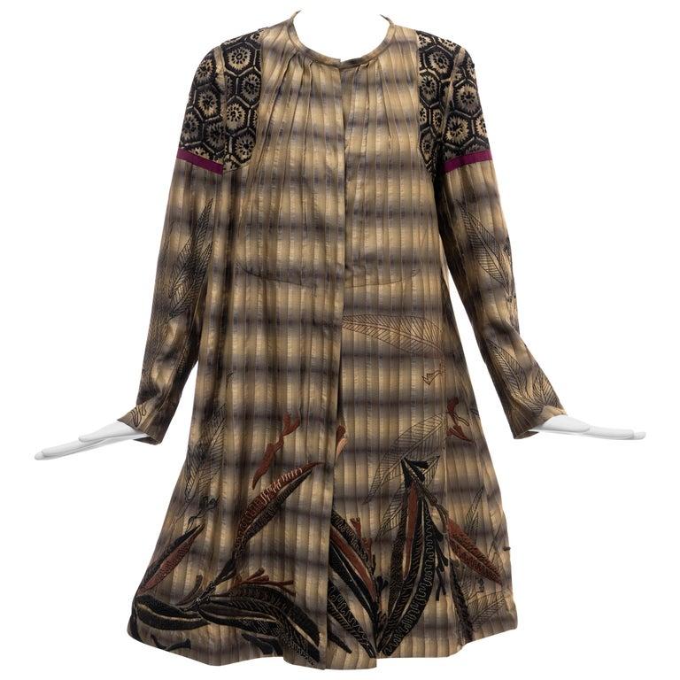 Dries Van Noten Runway Striped Embroidered Silk Lightweight Coat, Spring 2006 For Sale