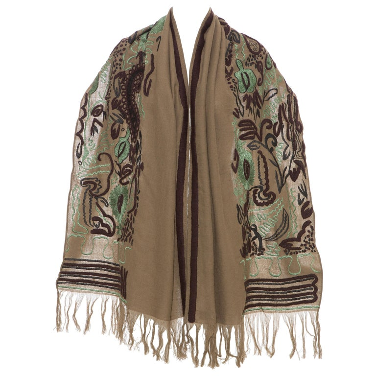 Dries Van Noten Runway Wool Embroidered Shawl, Fall 2002 For Sale