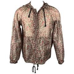 DRIES VAN NOTEN S/S 16 Size S Grey & Burgundy Leopard Print Cotton Blend Jacket