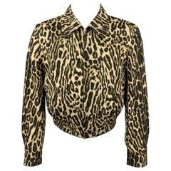 DRIES VAN NOTEN S/S 20 Size 36 Tan & Black Animal Print Wool Zip Up Jacket