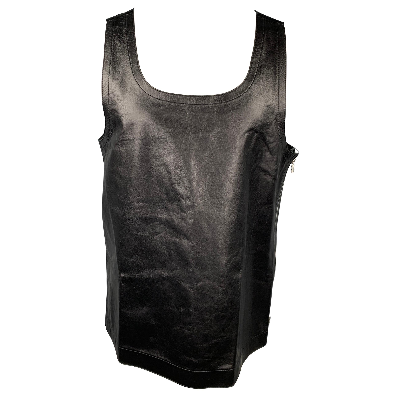 DRIES VAN NOTEN S/S 20 Size L Black Leather Side Zipper Tank Top