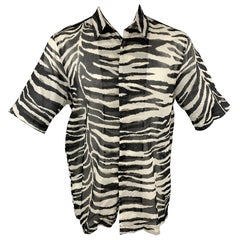 DRIES VAN NOTEN S/S 20 Size M White & Black Zebra Print Cotton Shirt