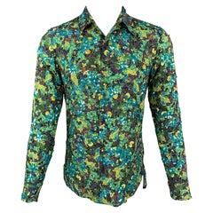 DRIES VAN NOTEN S/S 20 Size XS Green & Blue Beaded Viscose Button Up Shirt
