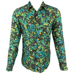 DRIES VAN NOTEN S/S 20 Size XS Green & Blue Viscose Button Up Long Sleeve Shirt