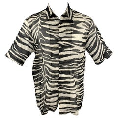 DRIES VAN NOTEN S/S 20 Size XXS Black & White Zebra Print Cotton Camp Shirt