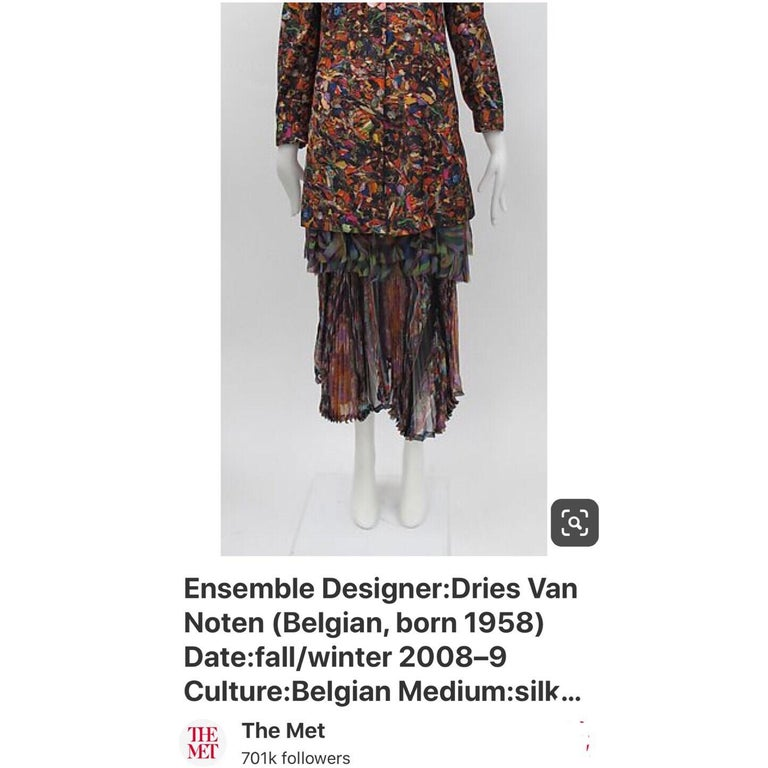 Dries Van Noten Sheer Silk Printed Pleated Skirt, Runway 2008 For Sale 5
