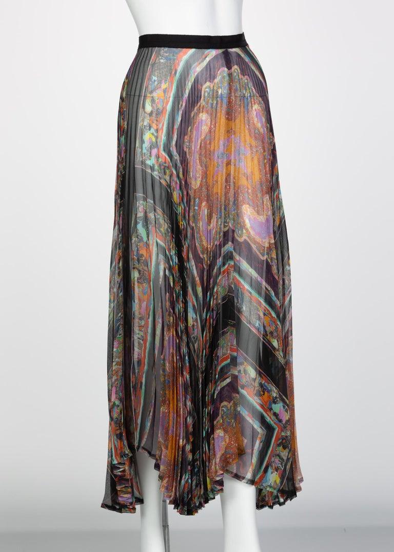 Gray Dries Van Noten Sheer Silk Printed Pleated Skirt, Runway 2008 For Sale
