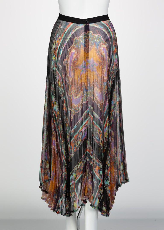 Dries Van Noten Sheer Silk Printed Pleated Skirt, Runway 2008 In Excellent Condition For Sale In Boca Raton, FL