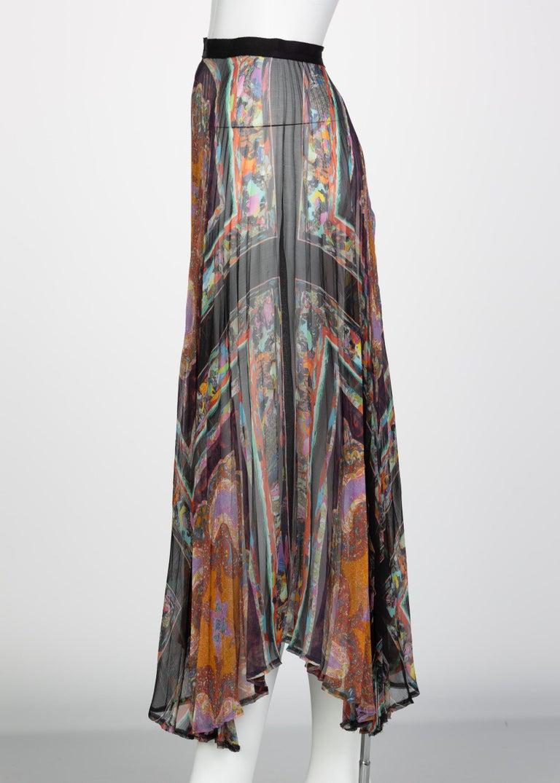 Women's Dries Van Noten Sheer Silk Printed Pleated Skirt, Runway 2008 For Sale