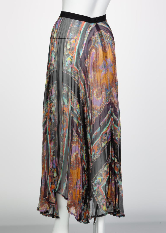 Dries Van Noten Sheer Silk Printed Pleated Skirt, Runway 2008 For Sale 1