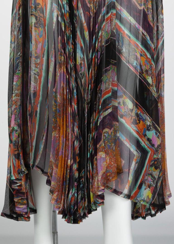 Dries Van Noten Sheer Silk Printed Pleated Skirt, Runway 2008 For Sale 2
