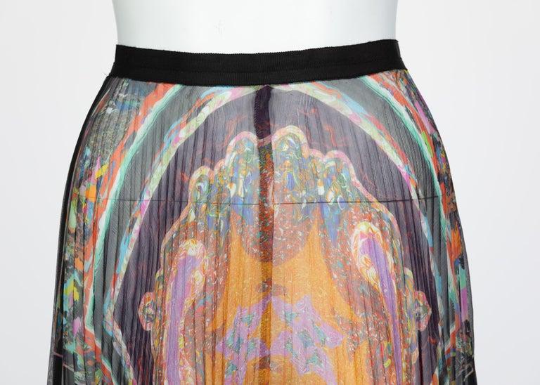 Dries Van Noten Sheer Silk Printed Pleated Skirt, Runway 2008 For Sale 3