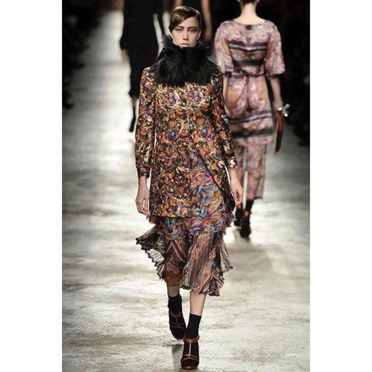 Dries Van Noten Sheer Silk Printed Pleated Skirt, Runway 2008 For Sale 4