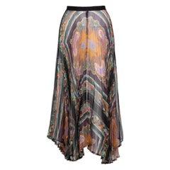 Dries Van Noten Sheer Silk Printed Pleated Skirt, Runway 2008