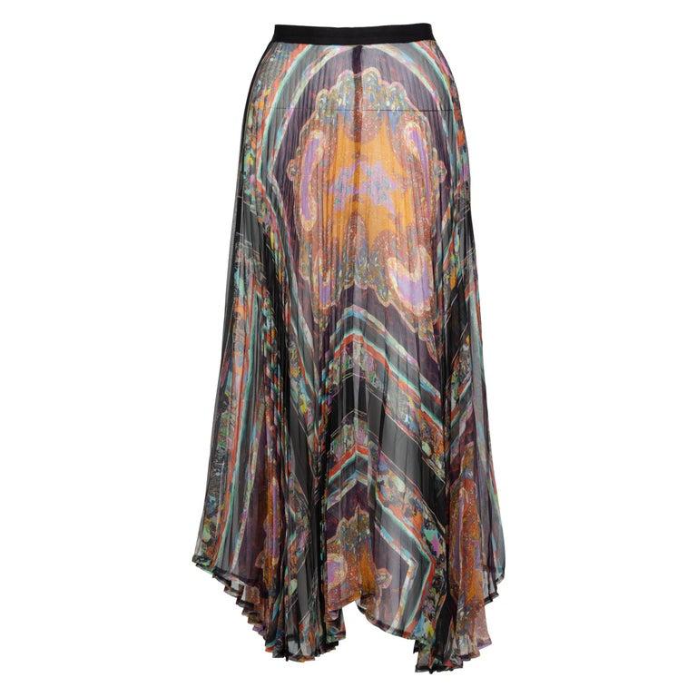 Dries Van Noten Sheer Silk Printed Pleated Skirt, Runway 2008 For Sale