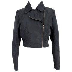 Dries Van Noten Shiny Black Short Chiodo Jacket