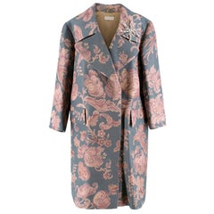 Dries Van Noten Silk Blend Floral Coat with Dragonfly Brooch - Size S
