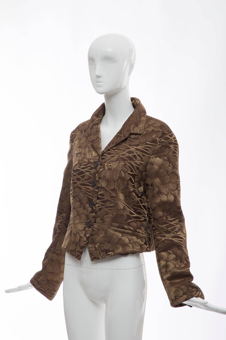 Dries Van Noten Runway Silk Floral Metallic Button Front Jacket, Fall 2003 For Sale 5