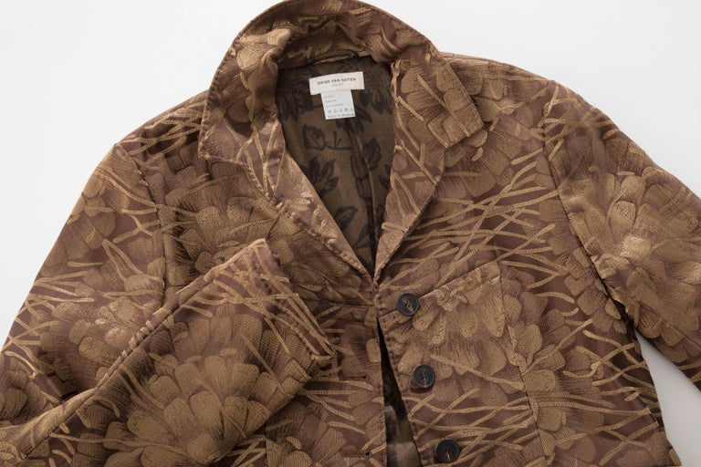 Dries Van Noten Runway Silk Floral Metallic Button Front Jacket, Fall 2003 For Sale 6