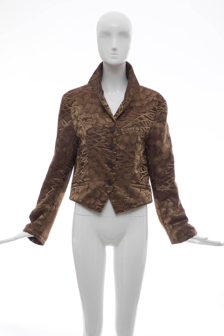 Dries Van Noten, Fall 2003 silk cropped jacket with notched lapels, dual slit pockets at waist, floral pattern throughout, button closures at front and fully lined in silk.  FR. 44, US. 12  Bust: 39, Waist 36, Shoulder 17, Length 22, Sleeve 31