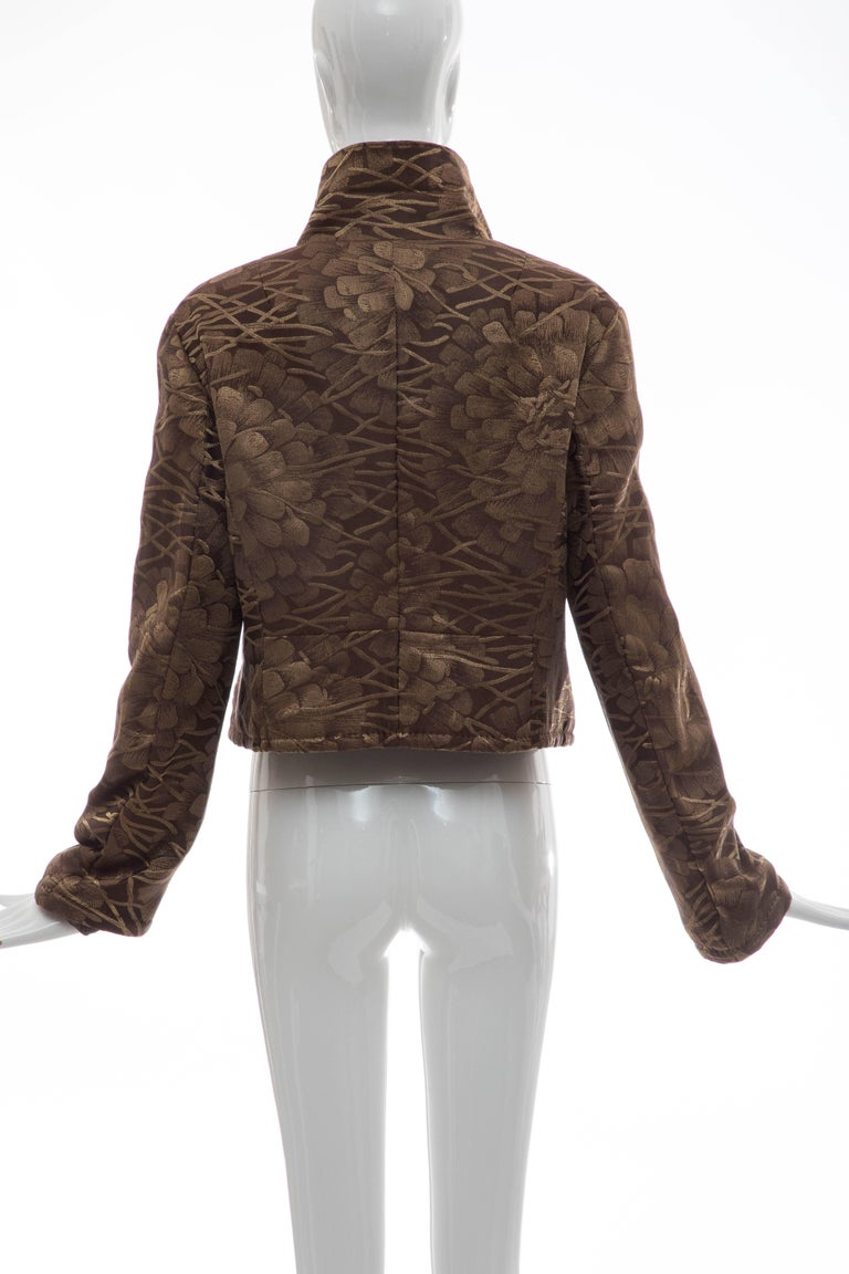 Brown Dries Van Noten Runway Silk Floral Metallic Button Front Jacket, Fall 2003 For Sale
