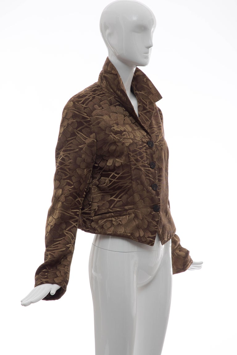 Dries Van Noten Runway Silk Floral Metallic Button Front Jacket, Fall 2003 In Excellent Condition For Sale In Cincinnati, OH