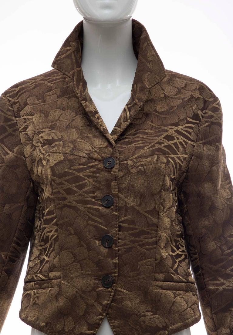 Women's Dries Van Noten Runway Silk Floral Metallic Button Front Jacket, Fall 2003 For Sale