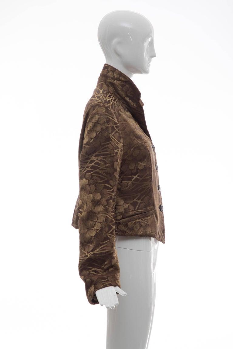 Dries Van Noten Runway Silk Floral Metallic Button Front Jacket, Fall 2003 For Sale 1