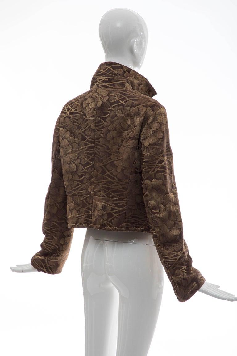 Dries Van Noten Runway Silk Floral Metallic Button Front Jacket, Fall 2003 For Sale 2