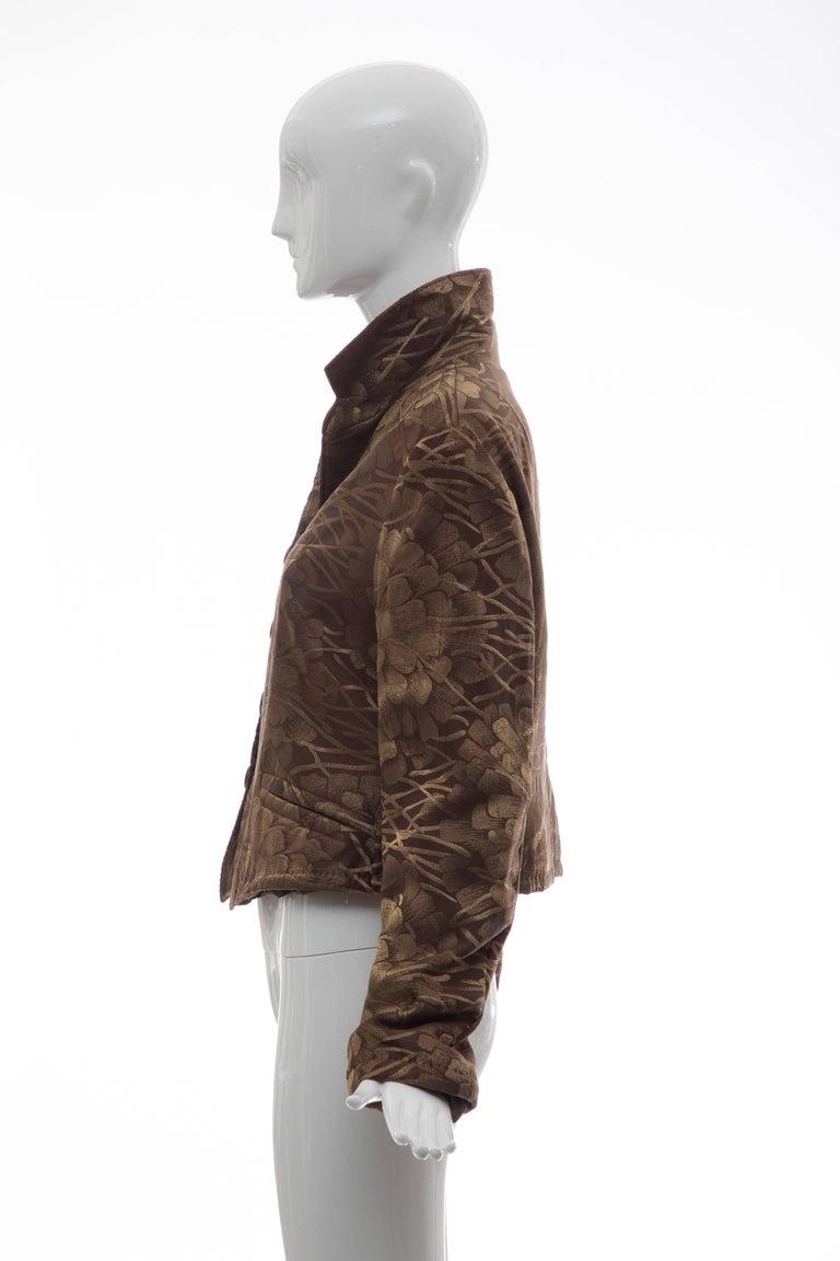 Dries Van Noten Runway Silk Floral Metallic Button Front Jacket, Fall 2003 For Sale 3