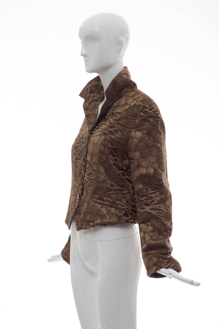 Dries Van Noten Runway Silk Floral Metallic Button Front Jacket, Fall 2003 For Sale 4
