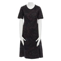DRIES VAN NOTEN silk linen black oriental floral jacquard A-line dress FR36 S