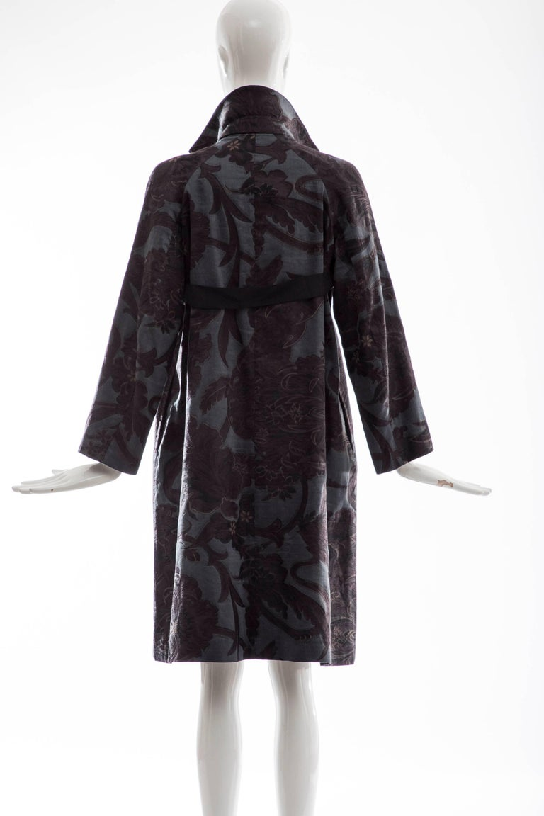 Black Dries Van Noten Runway Silk Linen Floral Jacquard Button Front Coat, Fall 2006 For Sale