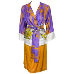 Dries Van Noten Silk Orange & Purple Kimono Style Skirt Suit