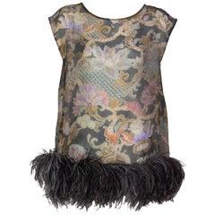 Dries Van Noten Silk Print Ostrich Feather Tunic Top Runway Fall 2013