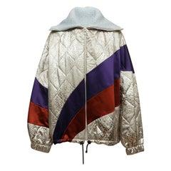 Dries Van Noten Silver & Multicolor Satin Bomber Jacket