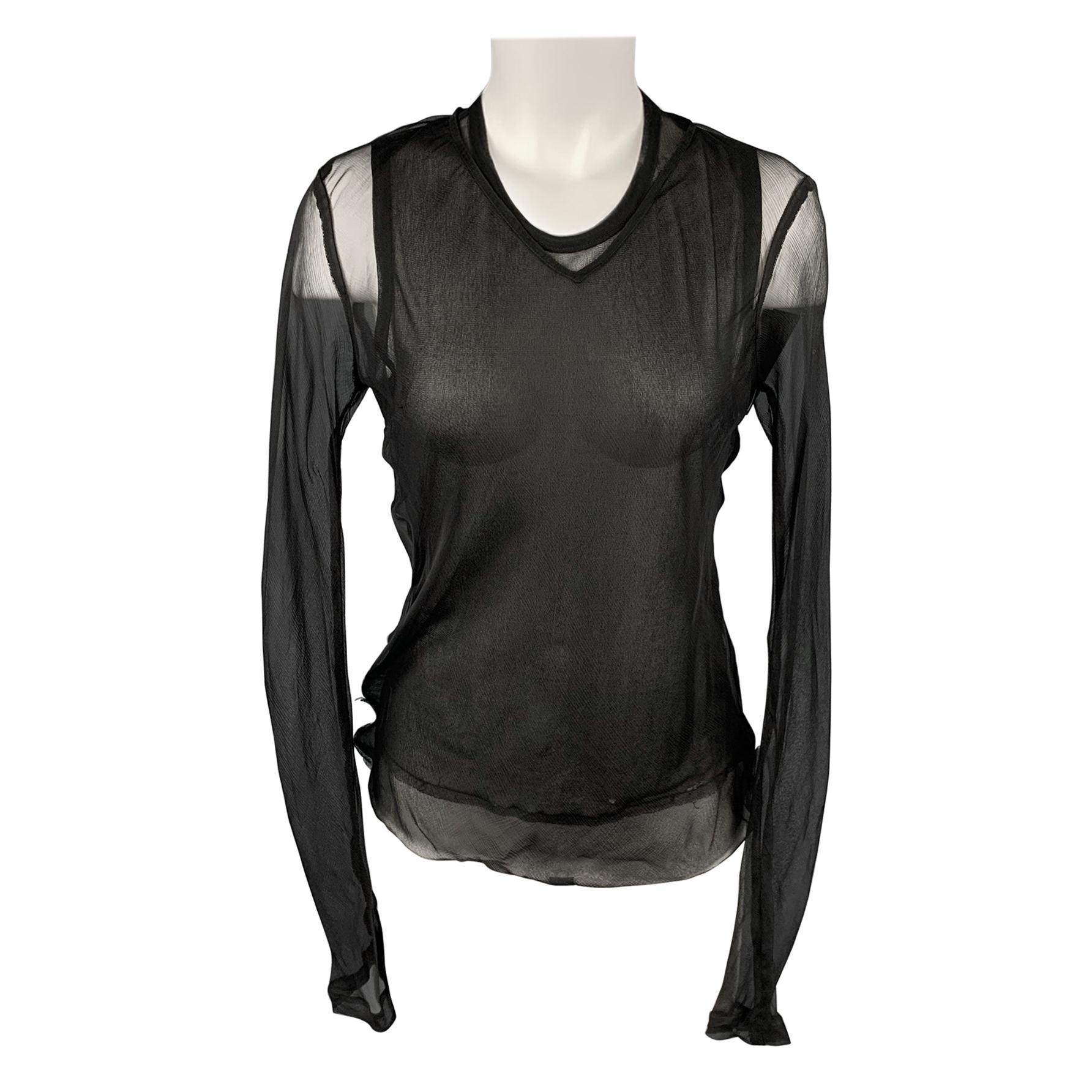 DRIES VAN NOTEN Size 10 Black See Through Layered Blouse