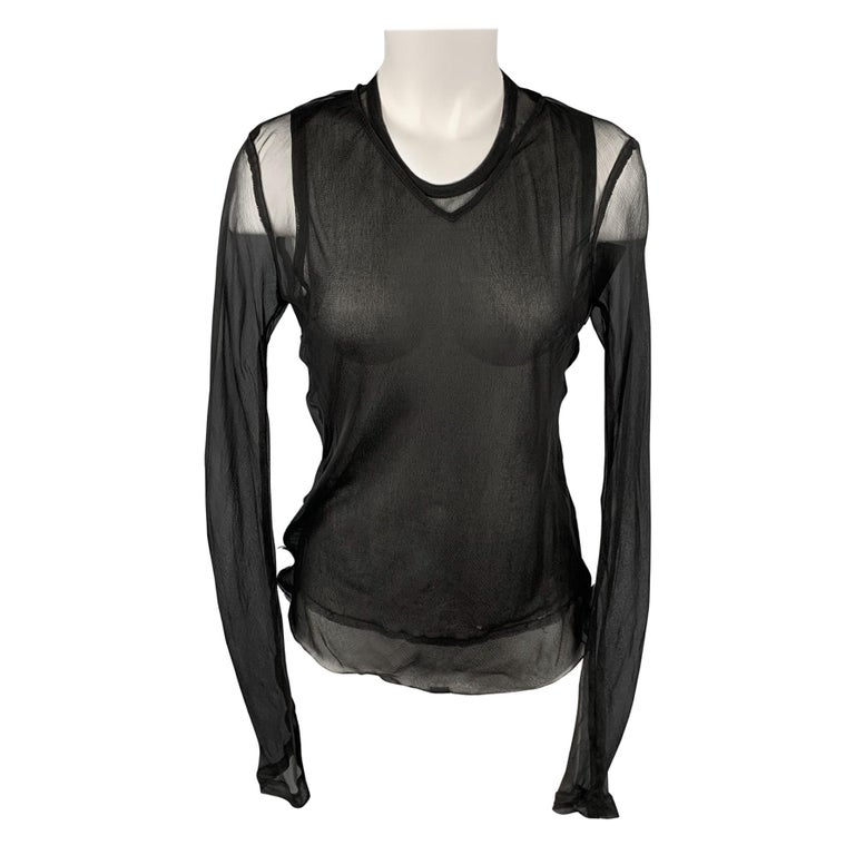 DRIES VAN NOTEN Size 10 Black See Through Layered Blouse For Sale