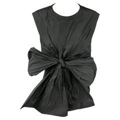 DRIES VAN NOTEN Size 10 Black Tafeta Polyester Sleeveless Bow Dress Top