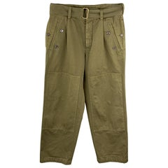 DRIES VAN NOTEN Size 30 x 30 Olive Solid Cotton Button Fly Casual Pants